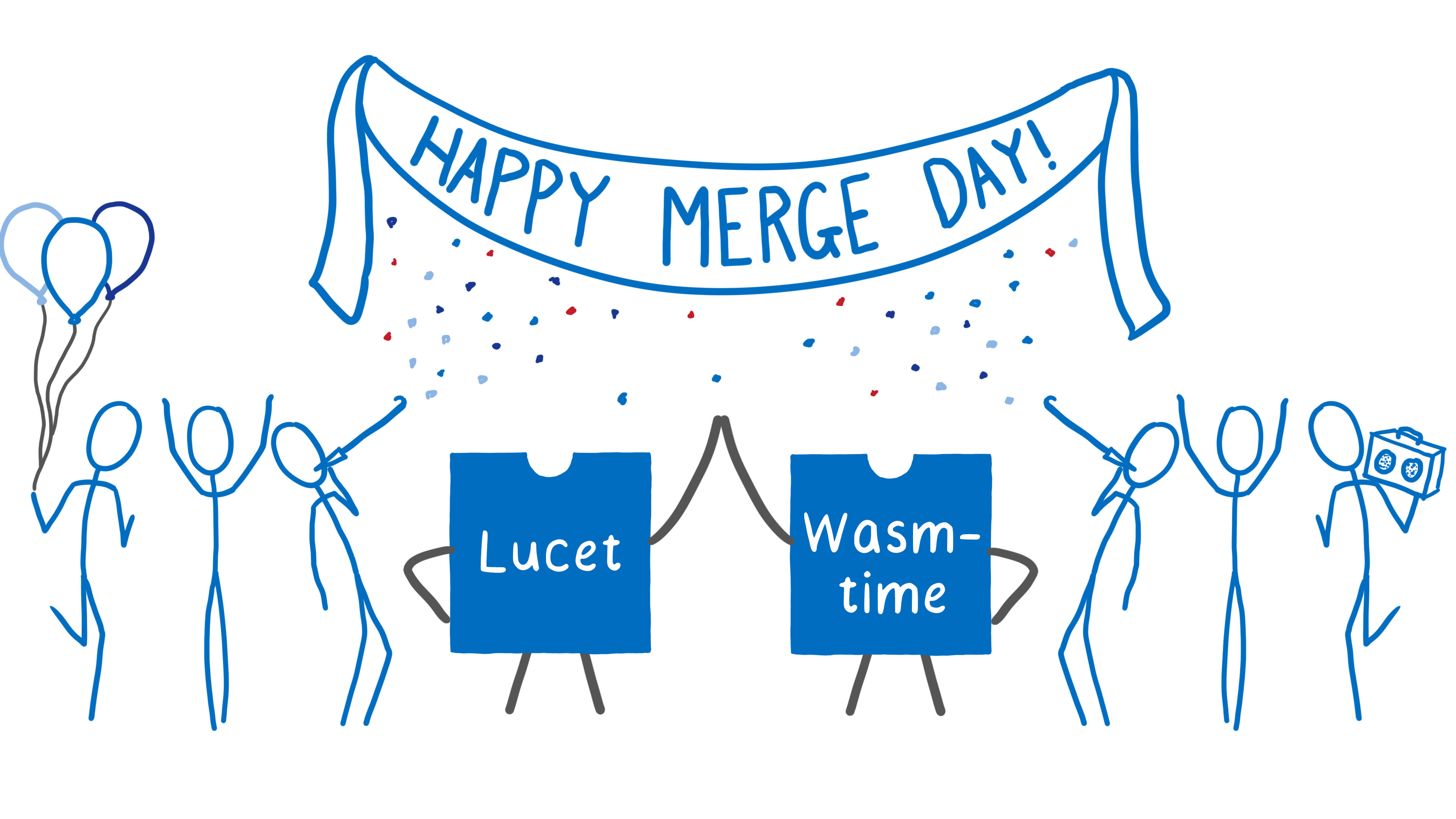 """Lucet and Wastime high fiving under a Happy Merge Day banner, while engineers party around them"""