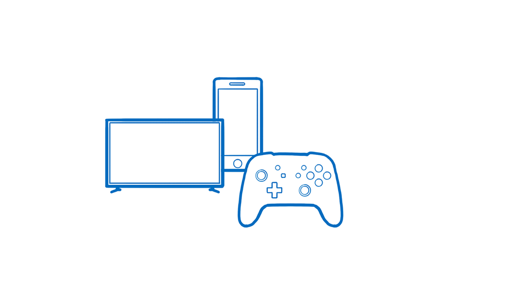An iPhone, a smart TV, and a gaming controller